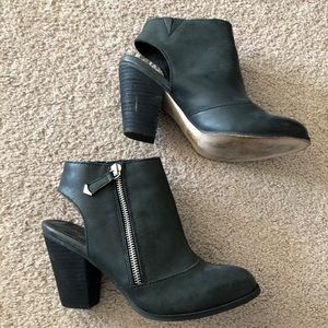 black leather booties from Aldo